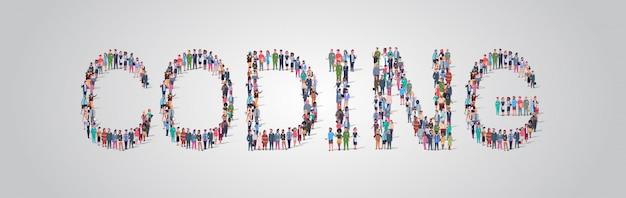 Mensen menigte verzamelen in de vorm van codeerwoord