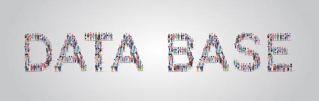 Mensen menigte verzamelen in de vorm van database woord