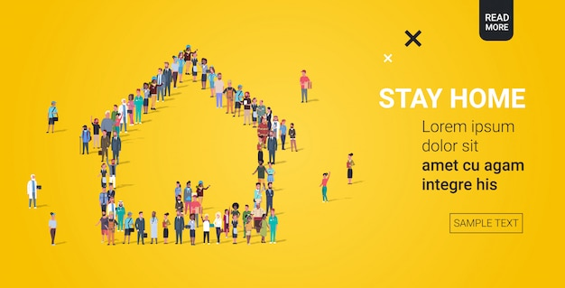 Mensen menigte verzamelen in huis vorm thuis blijven coronavirus pandemie covid-19 quarantaine concept