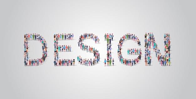 Mensen menigte verzamelen in vorm van design woord