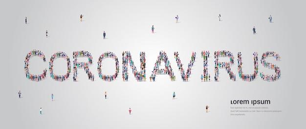 Mensen menigte vormen coronavirus belettering tekst pandemie covid-19 quarantaine-concept