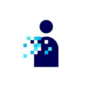 Mensen menselijke pixel markeren digitale 8 bit logo vector pictogram illustratie