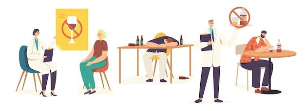 Mensen met alcoholverslaving mannelijke en vrouwelijke personages met verderfelijke gewoonten verslavingen en middelenmisbruik, dronken mannen en vrouwen die slapen, afspraak met narcoloog. cartoon vectorillustratie