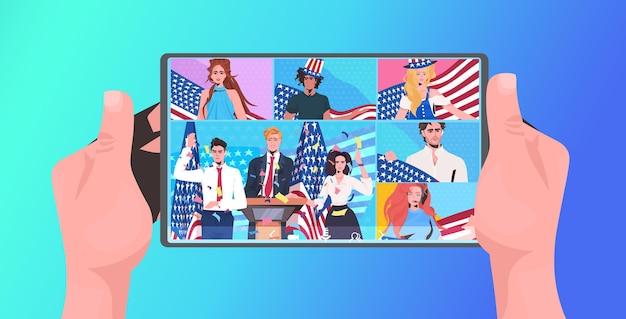 Mensen met amerikaanse vlaggen die 4 juli vieren amerikaanse onafhankelijkheidsdag viering online communicatieconcept tabletscherm tablet