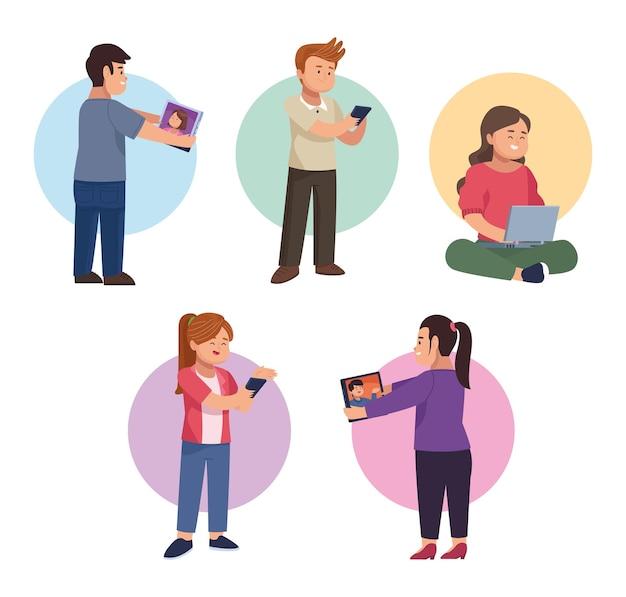 Mensen met apparaat in pictogrammenset voor videochat