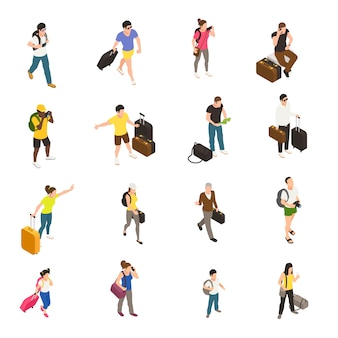 Mensen met bagage en gadgets tijdens reizen set isometrische pictogrammen op wit