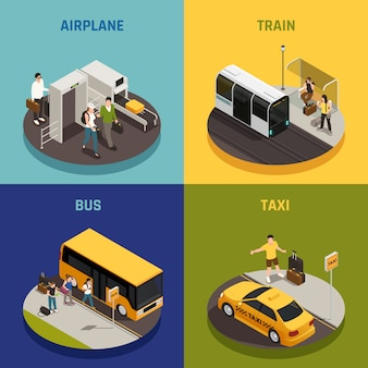 Mensen met bagage tijdens het reizen op vliegtuig trein bus en taxi isometrische ontwerpconcept geïsoleerd