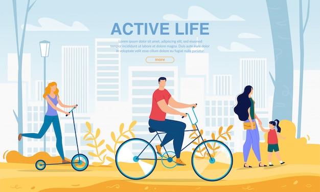 Mensen met behulp van city eco transport sport life websjabloon