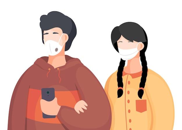 Mensen met beschermende maskers op wit