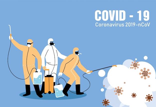 Mensen met bioveiligheidskostuum voor desinfectie van covid-19