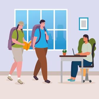Mensen met boek en tassen thuis ontwerp van activiteit en vrije tijd