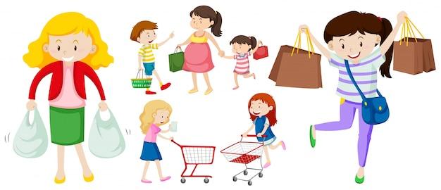 Mensen met boodschappentassen en cartillustratie