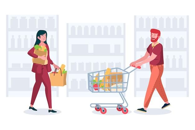 Mensen met boodschappentassen en karren