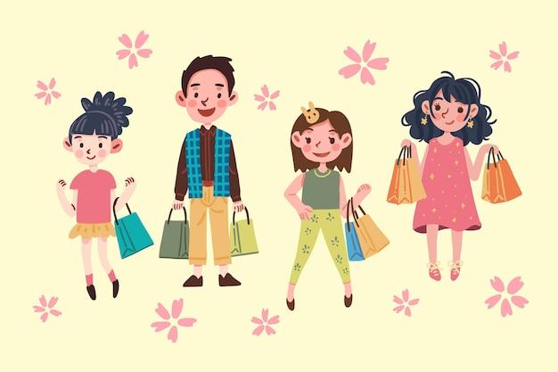 Mensen met boodschappentassen