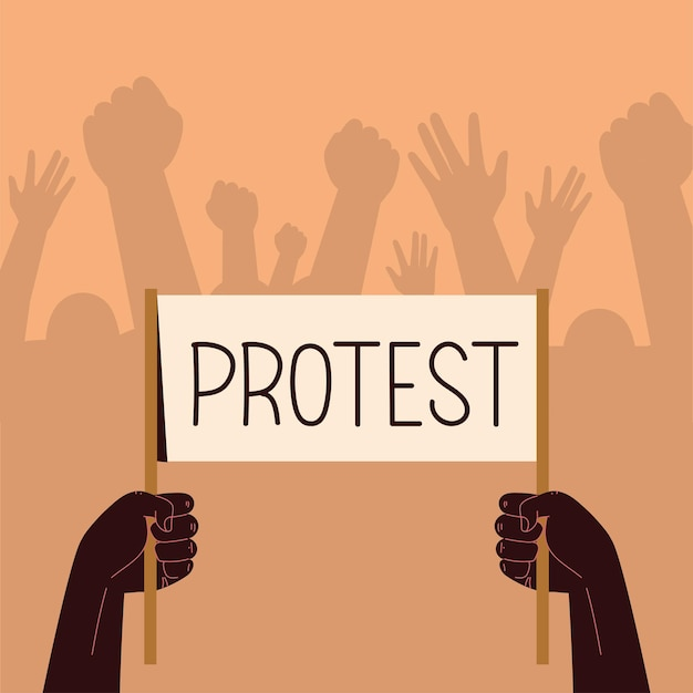 Mensen met bord protest