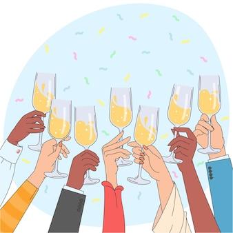 Mensen met champagneglazen