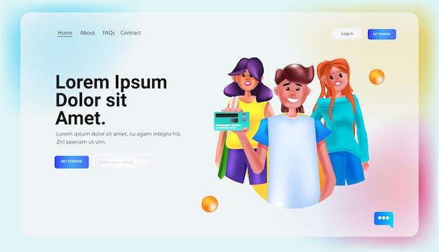Mensen met creditcard online winkelen concept verticaal portret kopie ruimte horizontale vectorillustratie