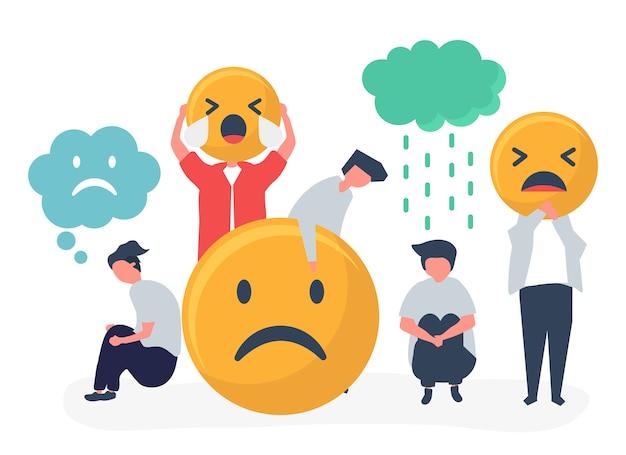 Mensen met depressie en verdriet