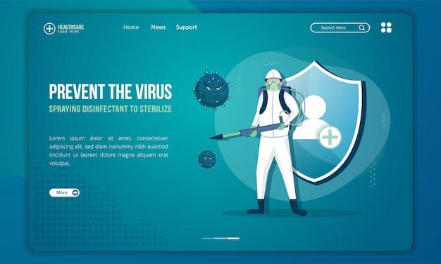 Mensen met desinfecterende sproeiers om het virus op de bestemmingspagina te steriliseren