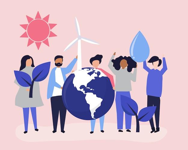 Mensen met ecologische duurzaamheid concept