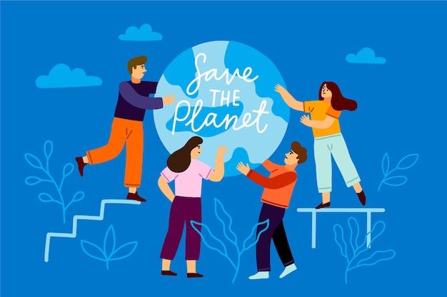 Mensen met een bericht over de planeet redden