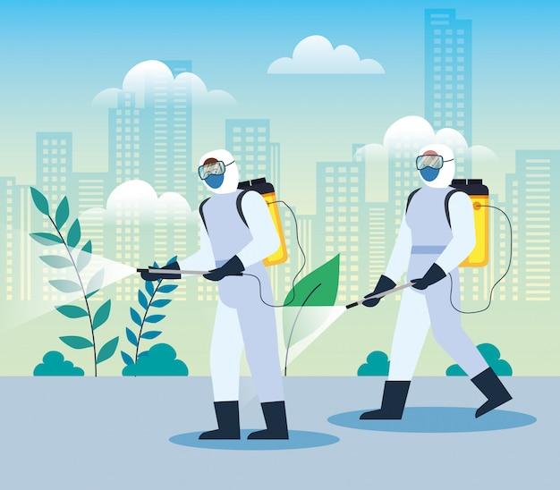 Mensen met een beschermend pak of spuitende virussen van covid 19, desinfectievirus concept