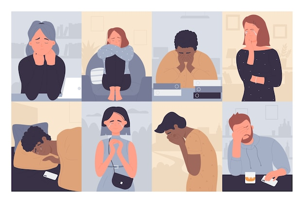 Mensen met een depressie. huilende, ongelukkige eenzame gestreste personen alleen