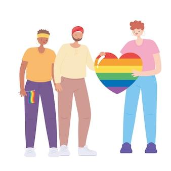 Mensen met een enorme regenboog hart en vlag