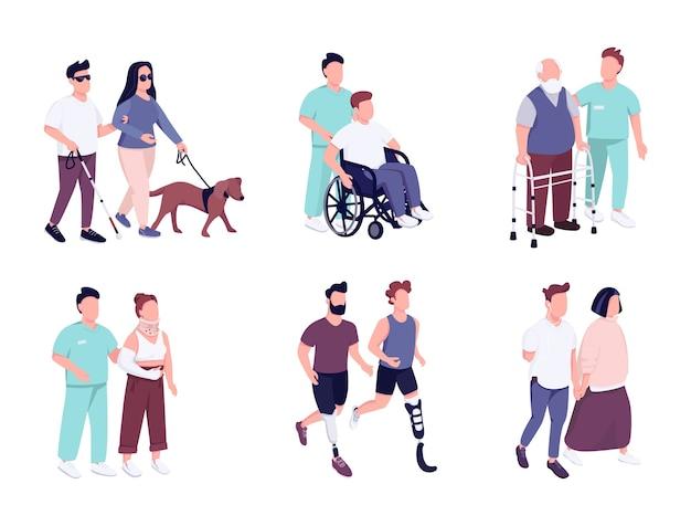 Mensen met een handicap activiteiten egale kleur gezichtsloze tekenset. oudere man op rolstoel. man met ontbrekende ledemaat rennen. geïsoleerde cartoon illustraties op een witte achtergrond