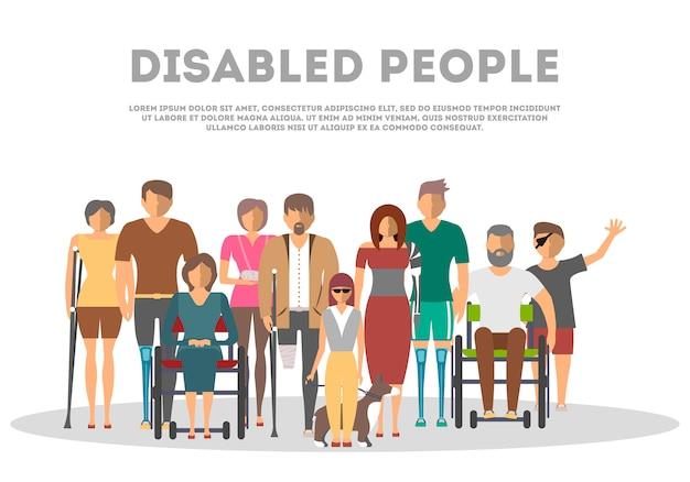Mensen met een handicap banner in vlakke stijl