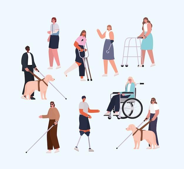 Mensen met een handicap cartoons met rolstoelprothese en cast van het thema inclusiediversiteit en gezondheidszorg.