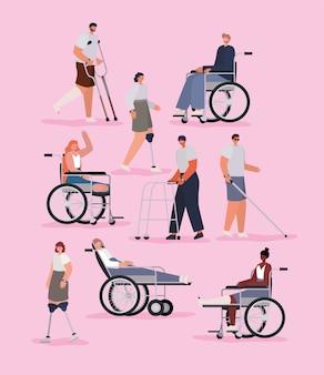 Mensen met een handicap cartoons met rolstoelprothese en gegoten op roze achtergrond van inclusie diversiteit en gezondheidszorg thema.