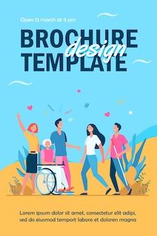 Mensen met een handicap helpen en diversiteit flyer-sjabloon