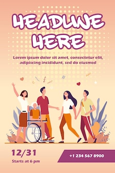 Mensen met een handicap helpen en diversiteit flyer-sjabloon Gratis Vector
