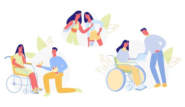 Mensen met een handicap in het dagelijks leven flat.