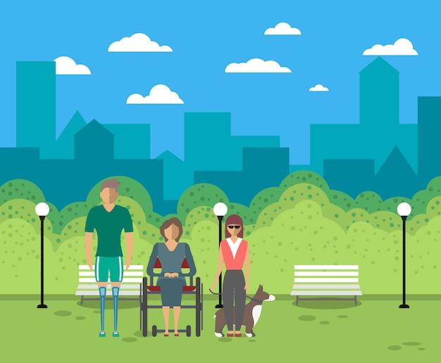 Mensen met een handicap in stadsleven concept