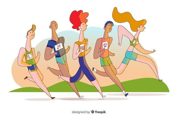 Mensen met een marathonrace