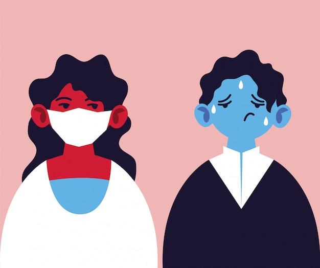 Mensen met een medisch gezichtsmasker en koorts, symptomen van infectie door coronavirus