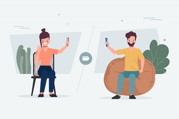 Mensen met een nieuwe normale levensstijl op sociale media. videoconferentie met vrienden. applicatie gebruiken op smartphone.