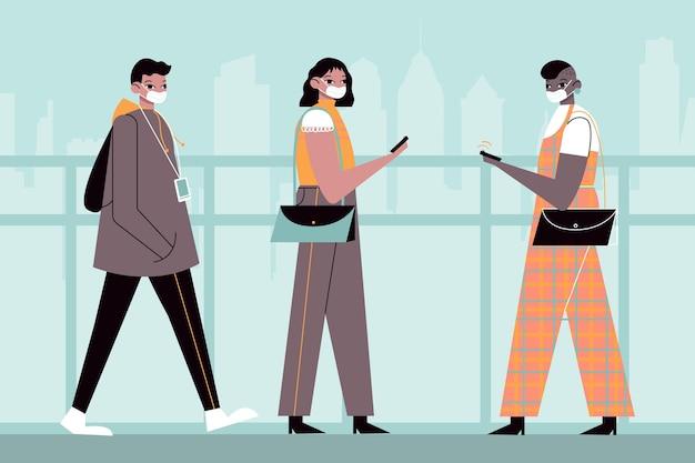 Mensen met een plat ontwerp gaan weer aan het werk met gezichtsmasker