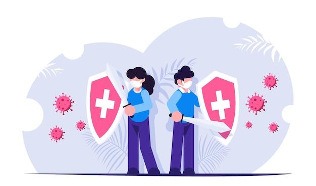 Mensen met een schild in hun handen worden beschermd tegen de aanval van het covid-virus