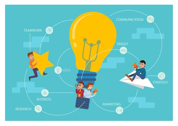 Mensen met een startup-ontwerp