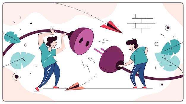 Mensen met een stekker en stopcontact, idee van verbinding