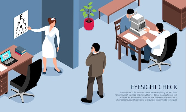 Mensen met een visuele handicap blinde isometrische horizontale banner van oogonderzoekstest door oogarts optometrist illustratie