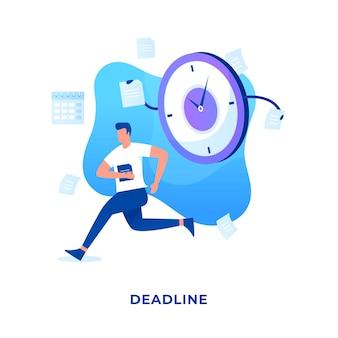 Mensen met een vlakke afbeelding worden achtervolgd door deadlines