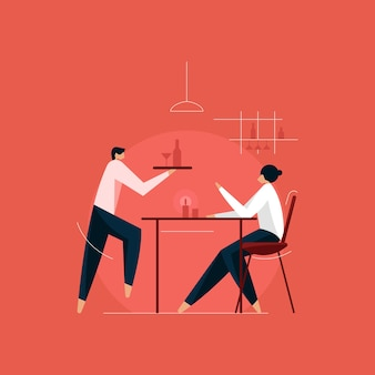 Mensen met eten en drinken in restaurant