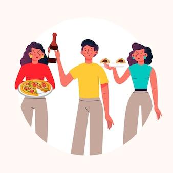 Mensen met eten en wijn