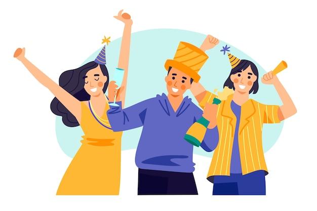 Mensen met feestmutsen vieren samen