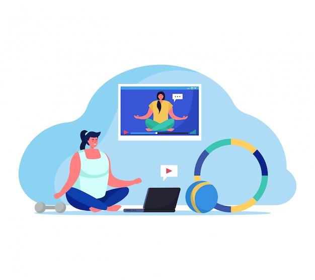Mensen met gadgets illustratie, stripfiguur gelukkig jonge vrouw doen online yoga meditatie met coach op wit