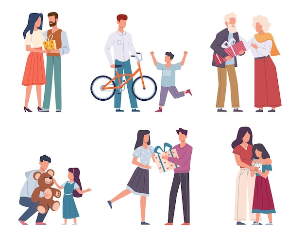 Mensen met geschenken. gelukkige personen geven en ontvangen verpakt met linten en strikken cadeau, vakantie evenement feliciteren en verrassen karakters mannen, vrouwen en kinderen op partij cartoon platte vector geïsoleerde set